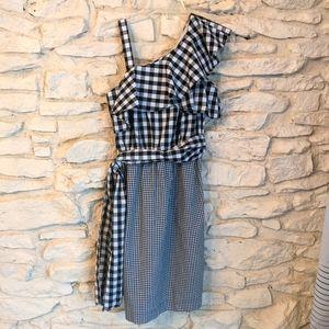 Mixed gingham one shoulder dress Calvin Klein